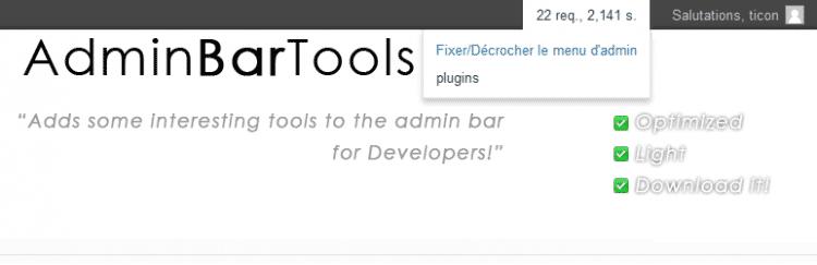 Admin Bar Tools v2 ou La trousse à outil du développeur WordPress