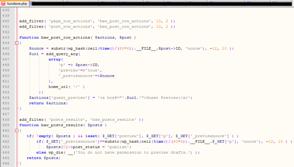 """Astuce """"Guest Preview"""" dans functions.php"""