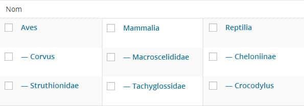 "9 termes de la taxonomie ""animal"""