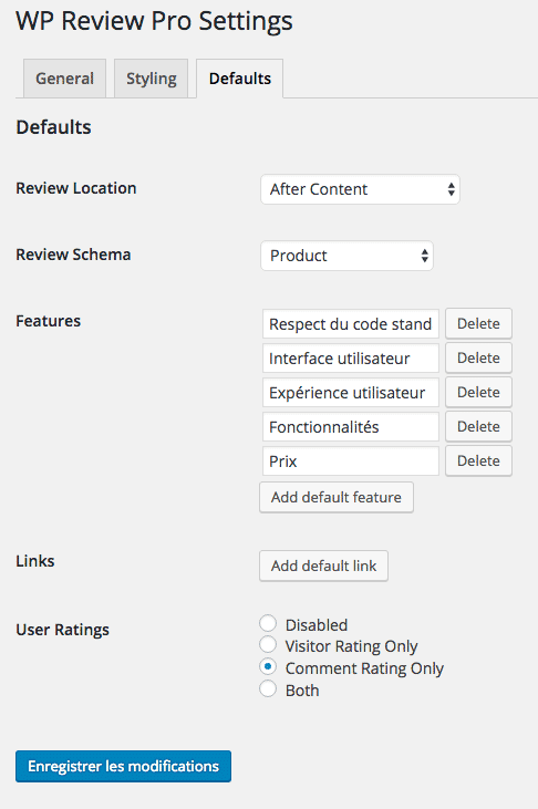 L'écran des settings en version pro