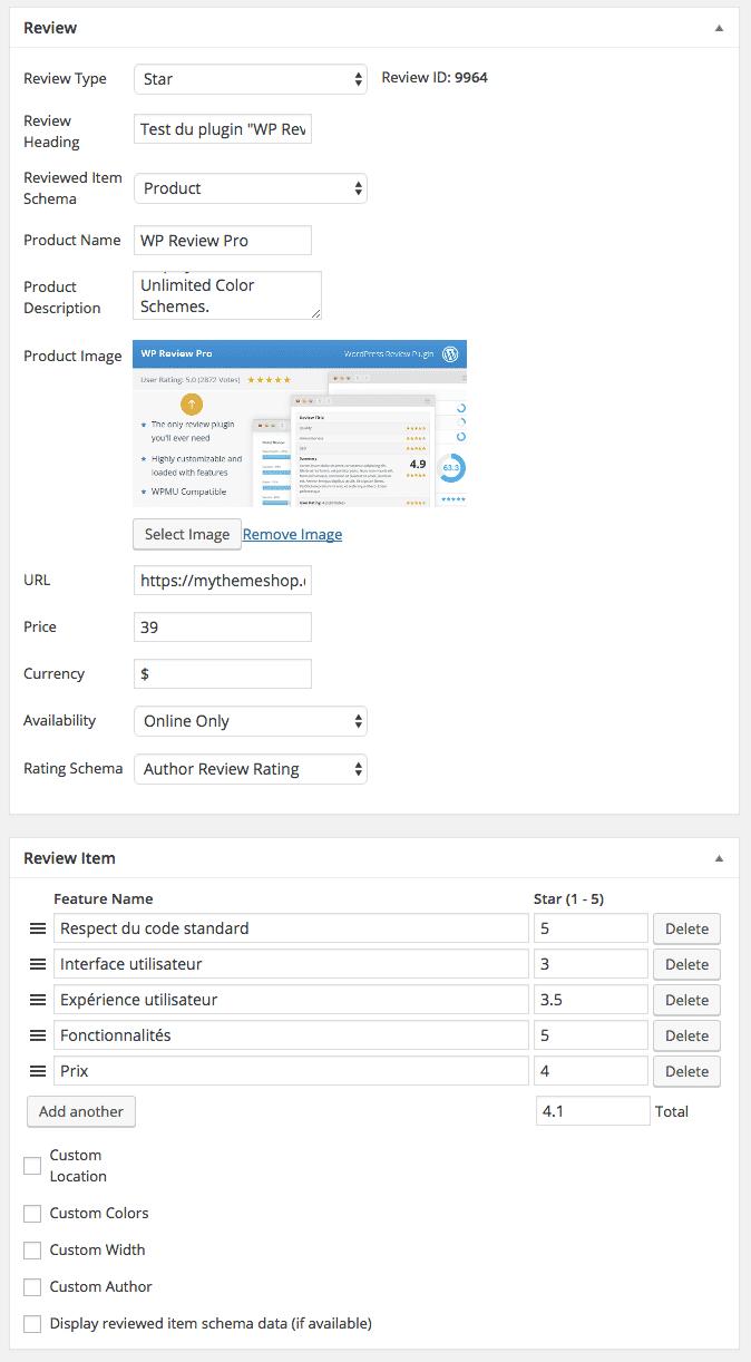 Les même settings, plus complet en PRO